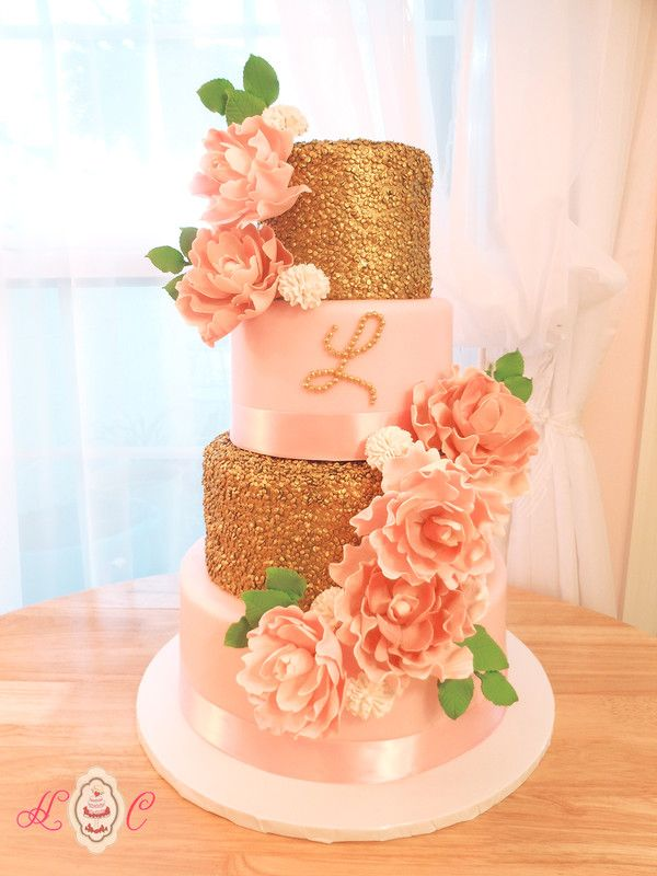 Gold And Coral Sheet Cake Designs