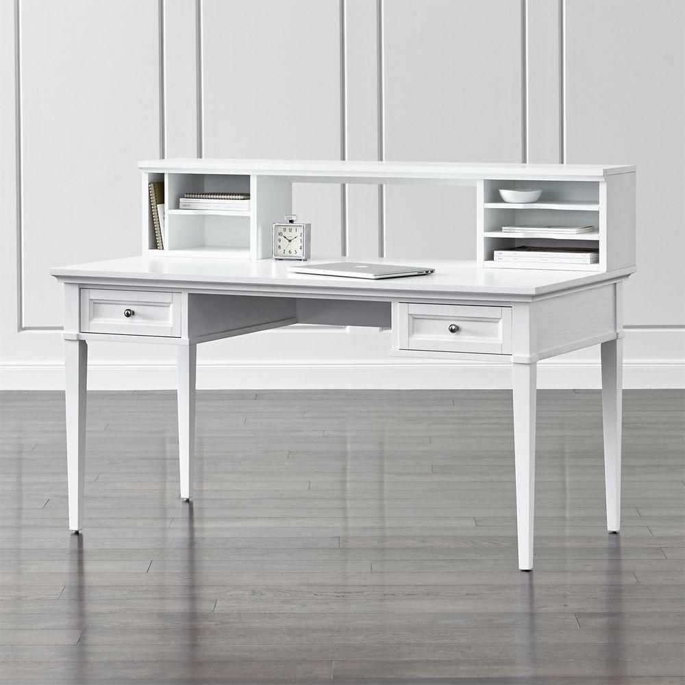 Harrison white 60 desk with hutch crate and barrel modular storage media storage