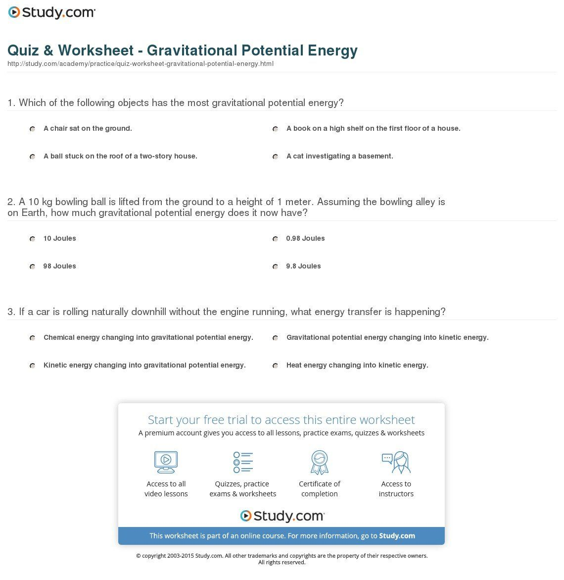 Gravitational Potential Energy Worksheet With Answers Gravitational Potential Energy Gravitational Potential Potential Energy