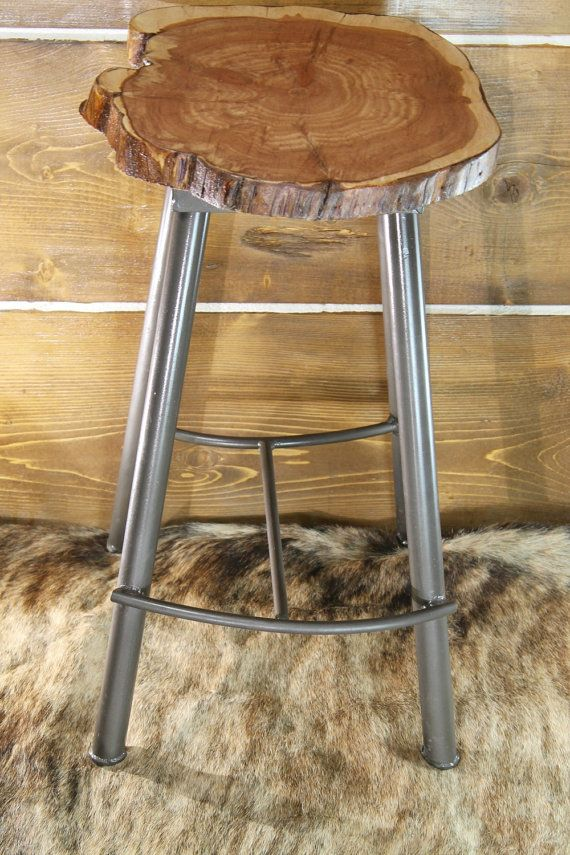 Cedar Slab Seat With Hand Crafted Metal Legs With Foot Rest Each