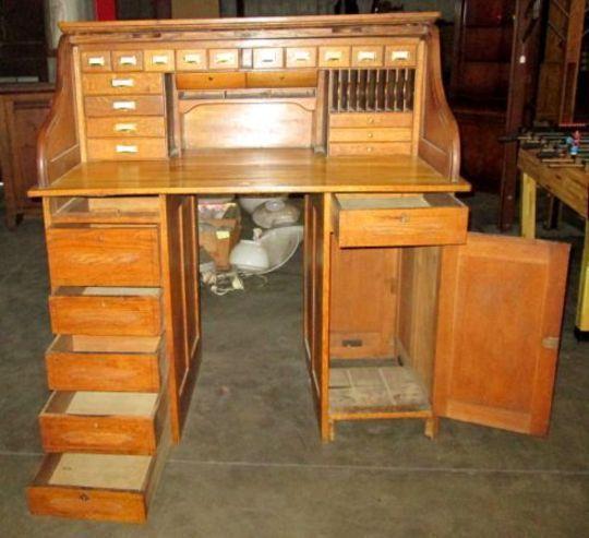 antique+stand+up+desk | Vintage s Roll Top Quarter Sawn Solid Oak - Vintage S ROLL TOP QUARTER SAWN SOLID OAK Banker DESK Stand Up FILE