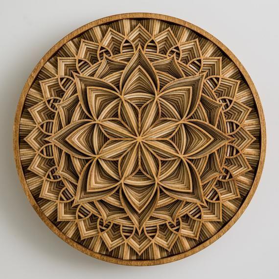 Mantra Wood Layered Modern Circular Geometric Mandala Wall Art