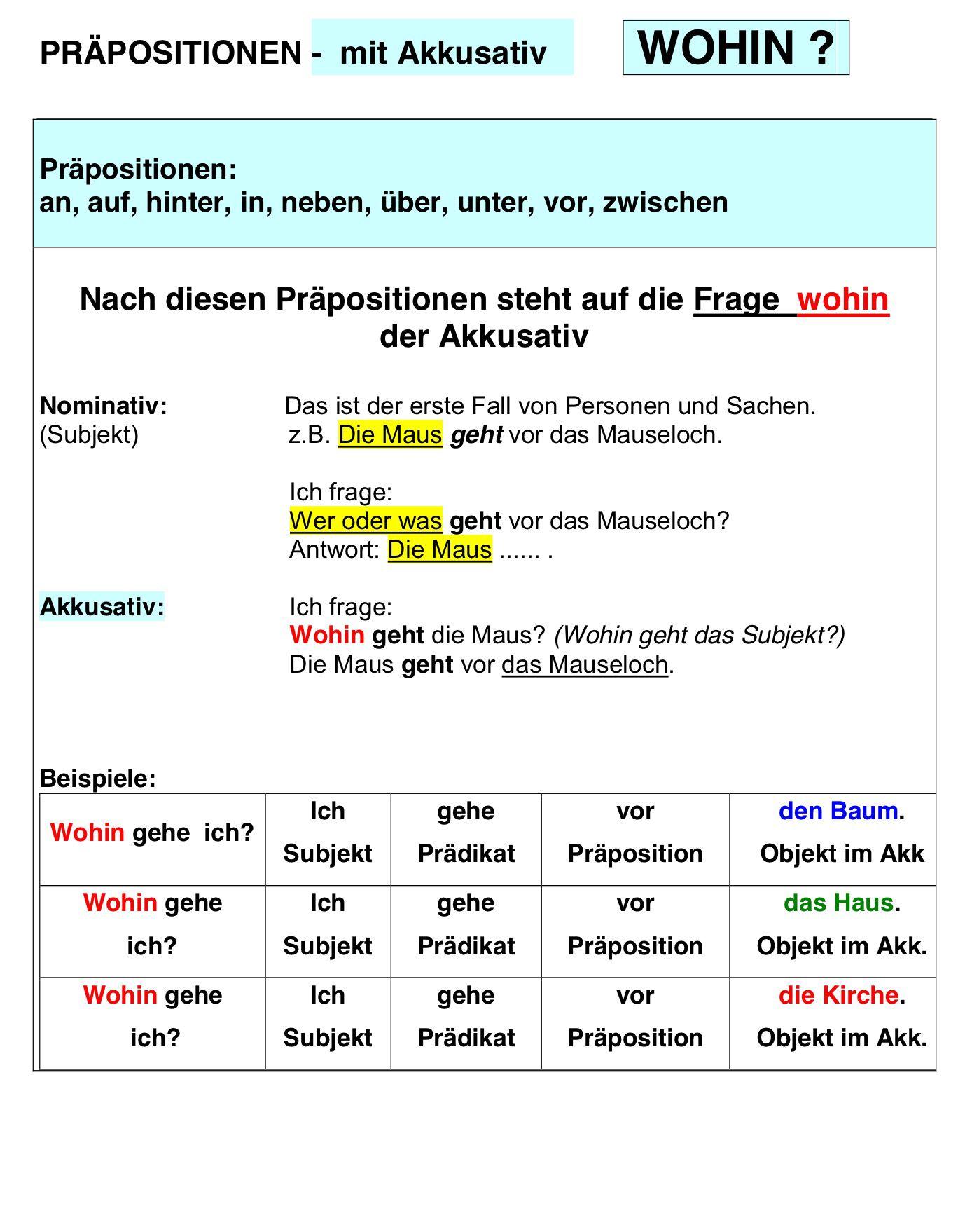 Pr positionen mit akkusativ alem n deutsch pinterest for Prapositionen mit akkusativ