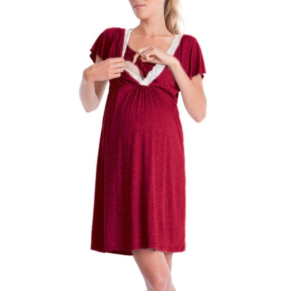 Women Pregnant Maternity Nursing Solid Color Breastfeeding Summer Maternity Dres