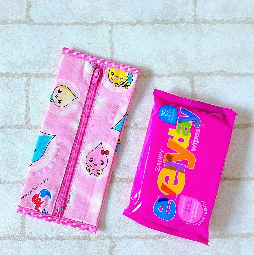Tissue Wipe Holder Small Size Pink Raindrop Design