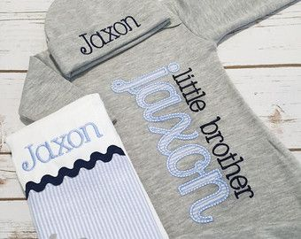 Baby boys clothing sets etsy uk baby pinterest clothing baby boy coming home outfit little brother gown little brother bodysuit personalized baby clothes newborn baby boy clothes negle Image collections