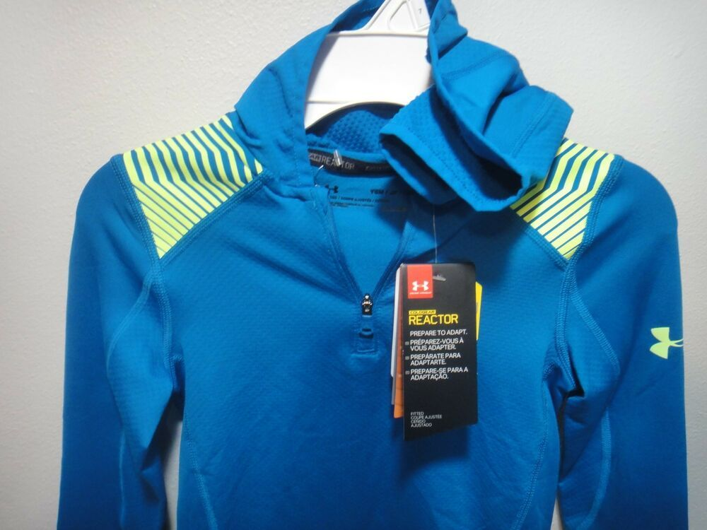 955506e4a Under Armour Boys Coldgear Reactor Pull Over 1/4 zip Hoodie Blue Green  YSM/P/CH #Underarmour #Hoodie