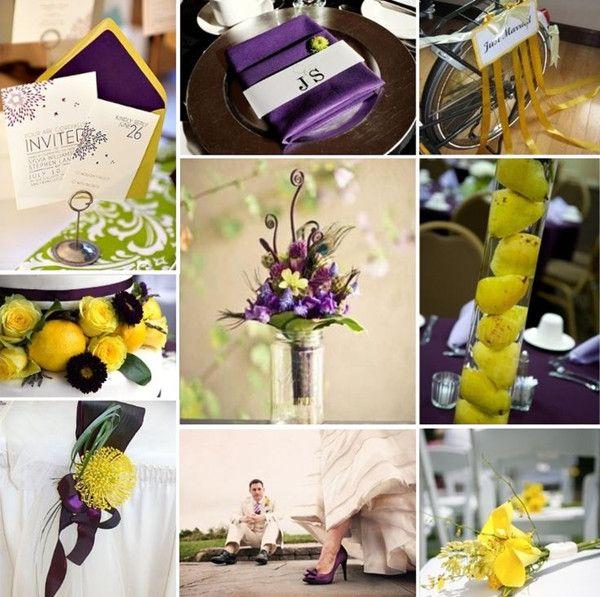 Gelb Und Lila Hochzeit Ideen Hochzeitsdeko Tischdekoration Blumen