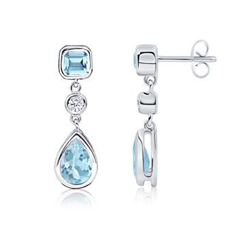 Angara Bezel-Set Aquamarine Teardrop Earrings with Diamond Accents koHi7z