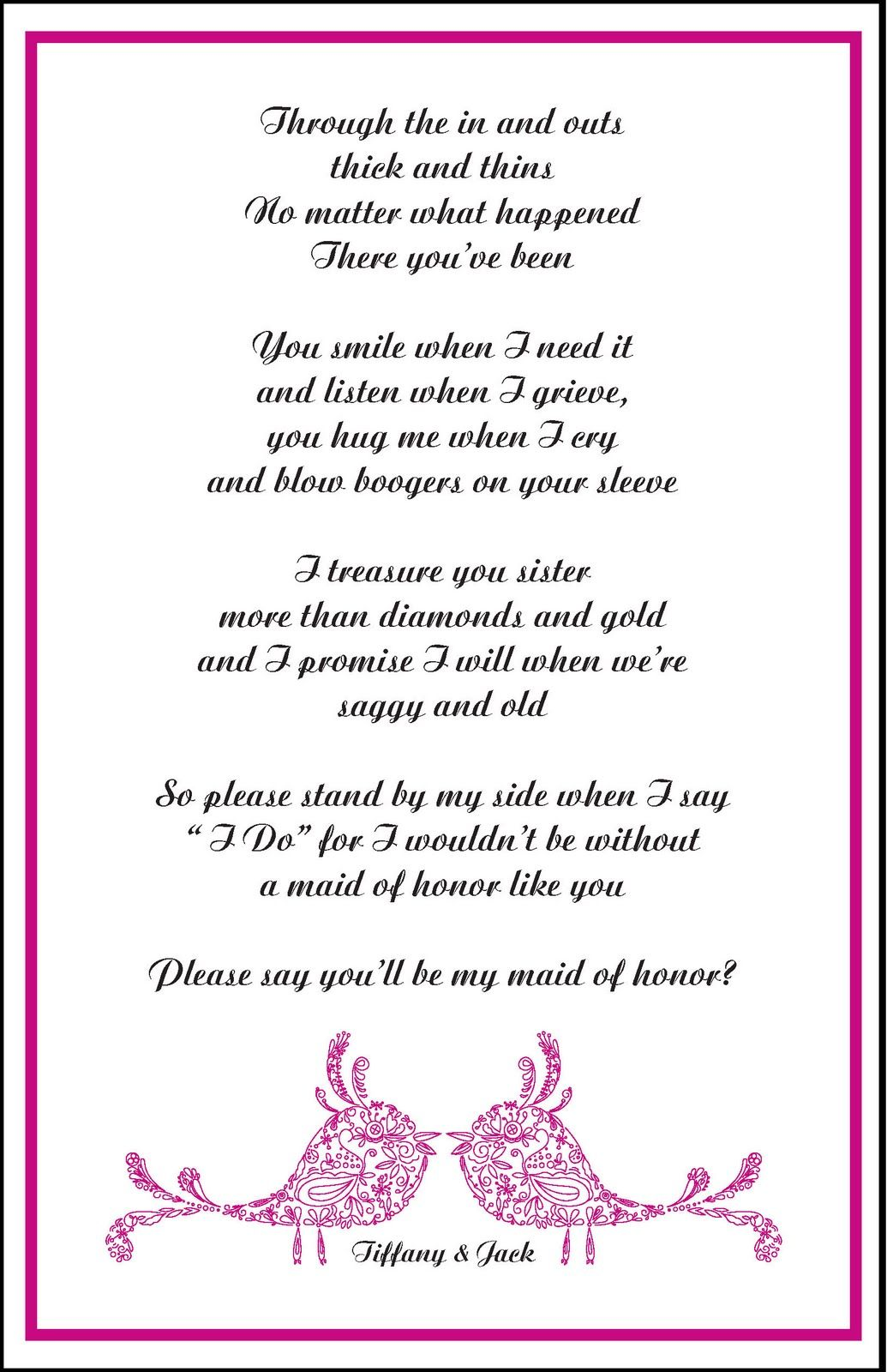 Funny Bridesmaid Poems To The Bride : funny, bridesmaid, poems, bride, Designs, Alaina, Bridesmaid, Poems,, Wedding, Letter