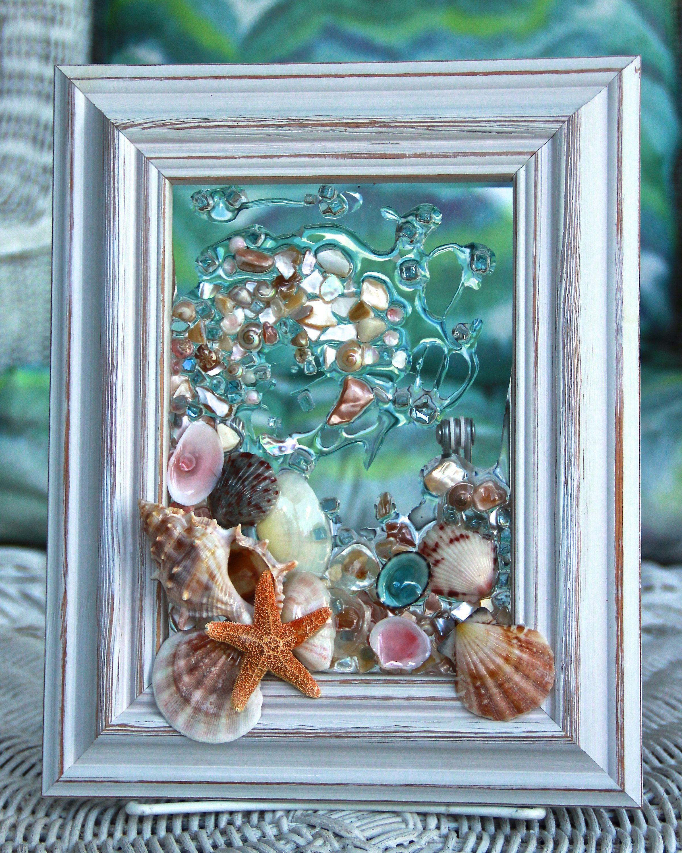 Sea Glass Wave Wall Hanging Beach Glass With Shells Shell Art For Beach Decor Beach Wedding Gift Shell Art Sun C Shell Art Seashell Crafts Sea Glass Decor