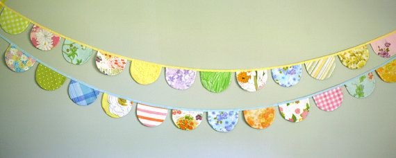 Party Bunting - Vintage Fabric Bunting Banner - Scalloped Flag Bunting Banner - 9 Feet