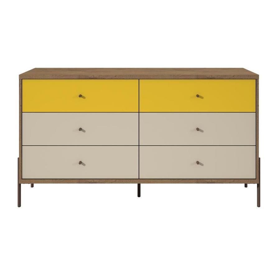 Manhattan Comfort Joy 59 In Double Dresser In Yellow 350593 In 2020 Manhattan Comfort Double Dresser Modern Dresser