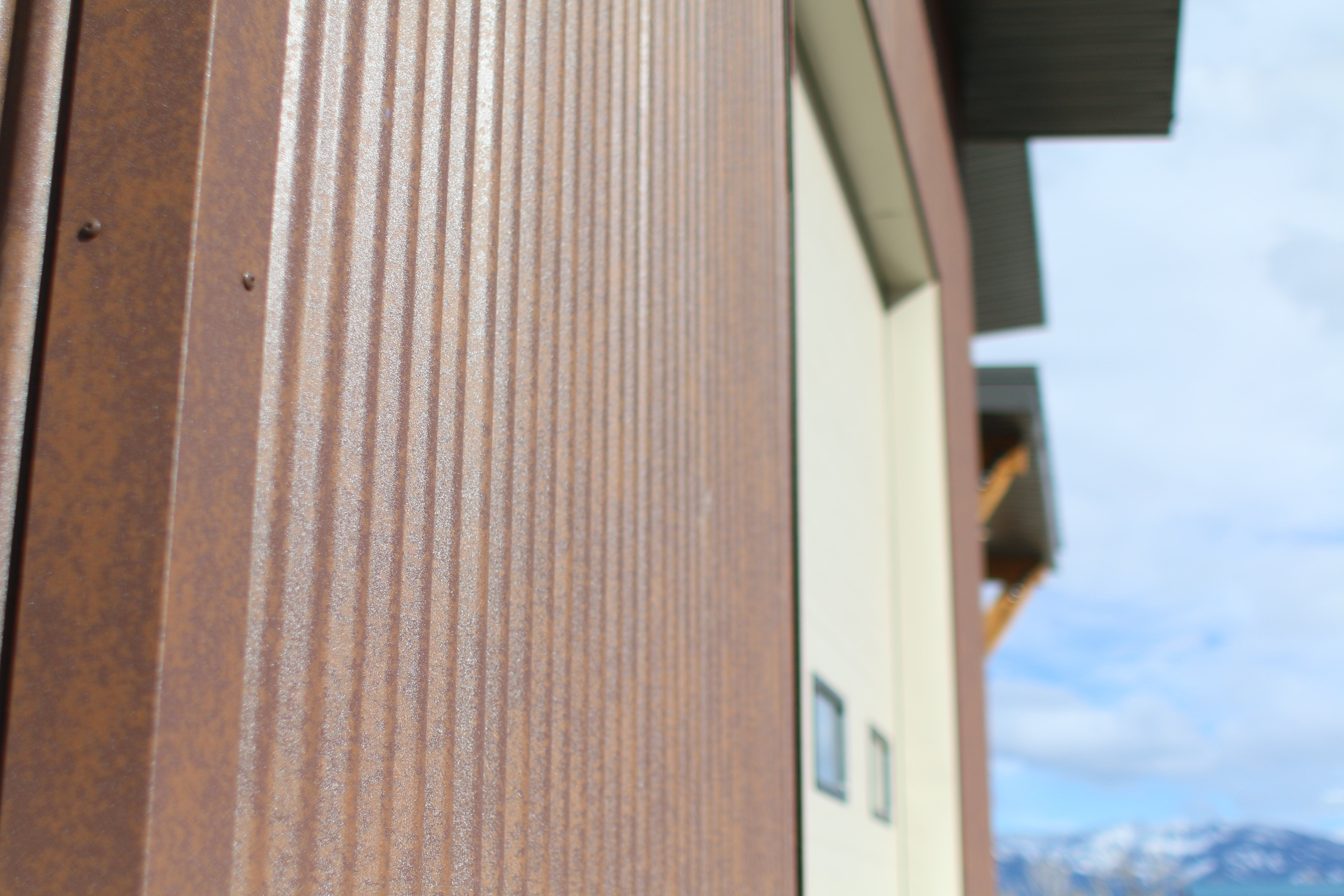 Close Up Of Corrugated Rustic Rawhide Siding Corrugated Metal Siding Steel House Weathering Steel