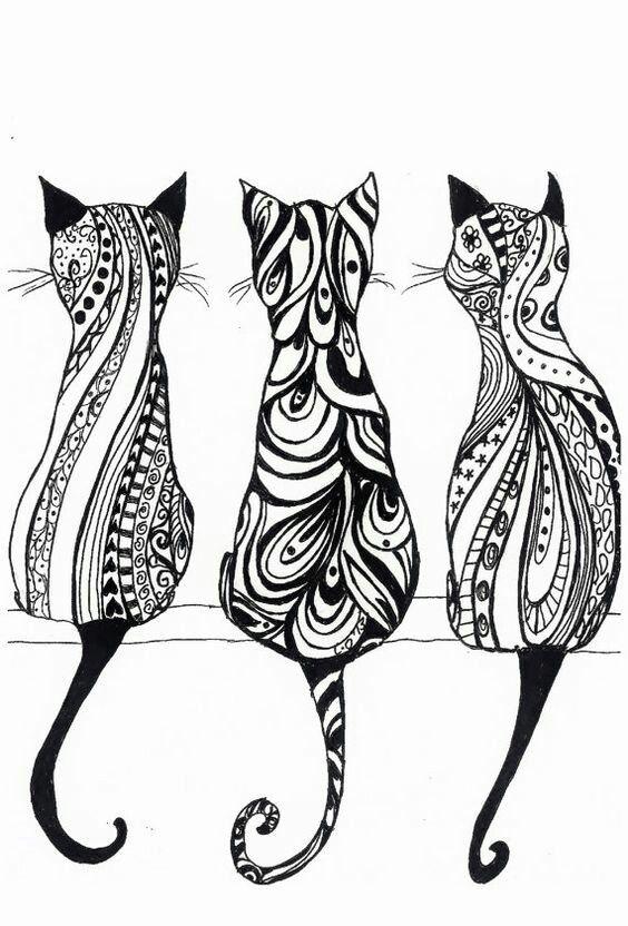 Three on a wall.. | Mandalas de gatos | Pinterest | Mandalas, Gato y ...