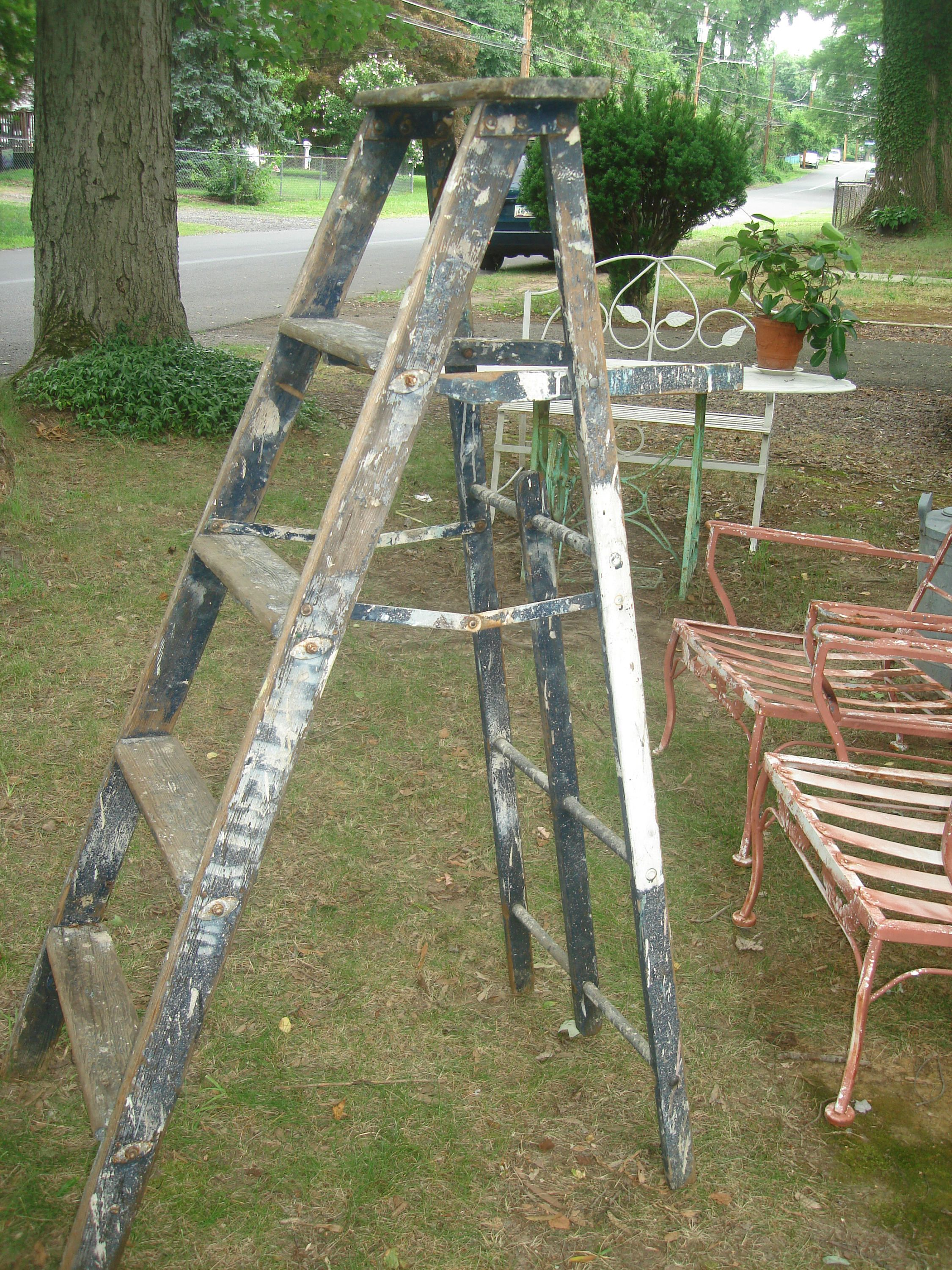 Clearance Sale French Antique Ladder Wood Folding Stepladder Shabby Chic Blue Ladder Farmhouse Ladder By S French Antiques Antique Ladder European Antiques