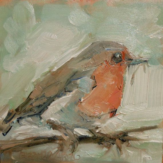 English Robin Bird Oil Painting Bird by OffTheWallPaintings, $30.00