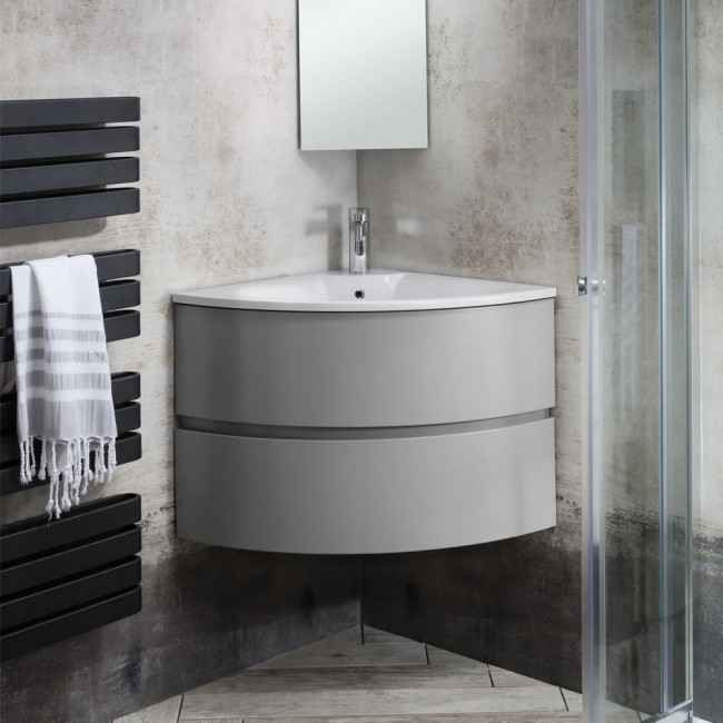 Crosswater Svelte Wall Hung Corner Vanity Unit with Basin