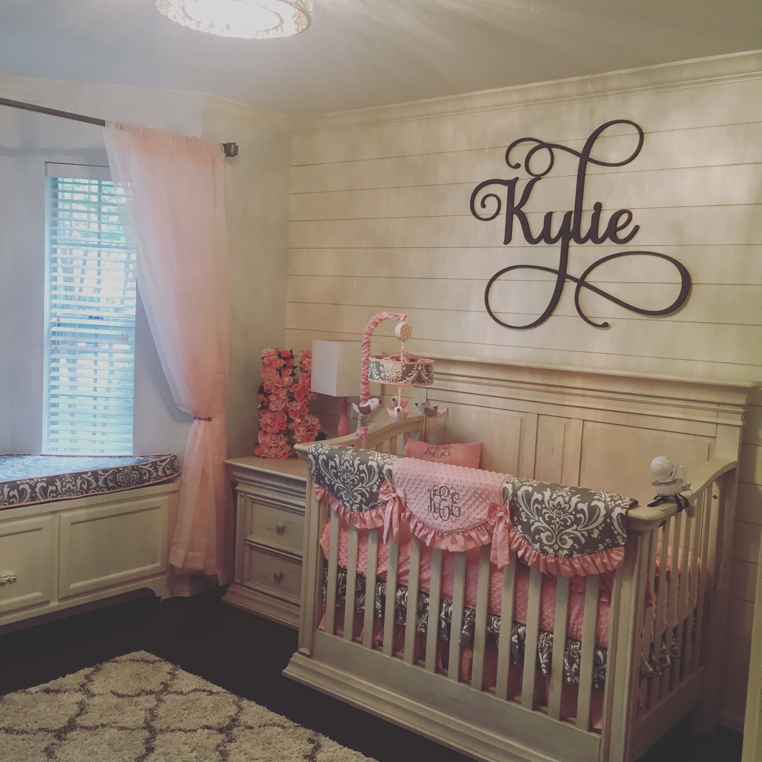 Pink And Gray Girls Baby Room: Shiplap, Baby Girls Room, Pink And Grey
