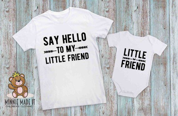 29e63d76 Dad and Baby Matching T-shirt and Gerber Onesie® Set of 2 - Say Hello To My  Little Friend -Little Friend Matching Shirts - New Dad Baby Gift