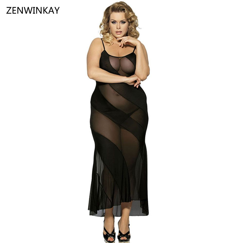 b7018615e4c Female Black Lingere Plus Size Sexy Sleepwear Long Negligee Clothing Sexy  Erotic Dress Lingere Plus Size