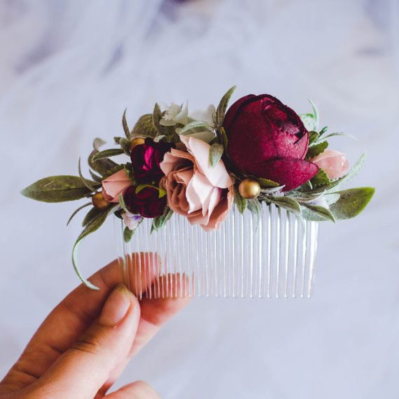Photo of Winter wedding hair accessories, Christmas burgundy blush flower comb, flower hair …..
