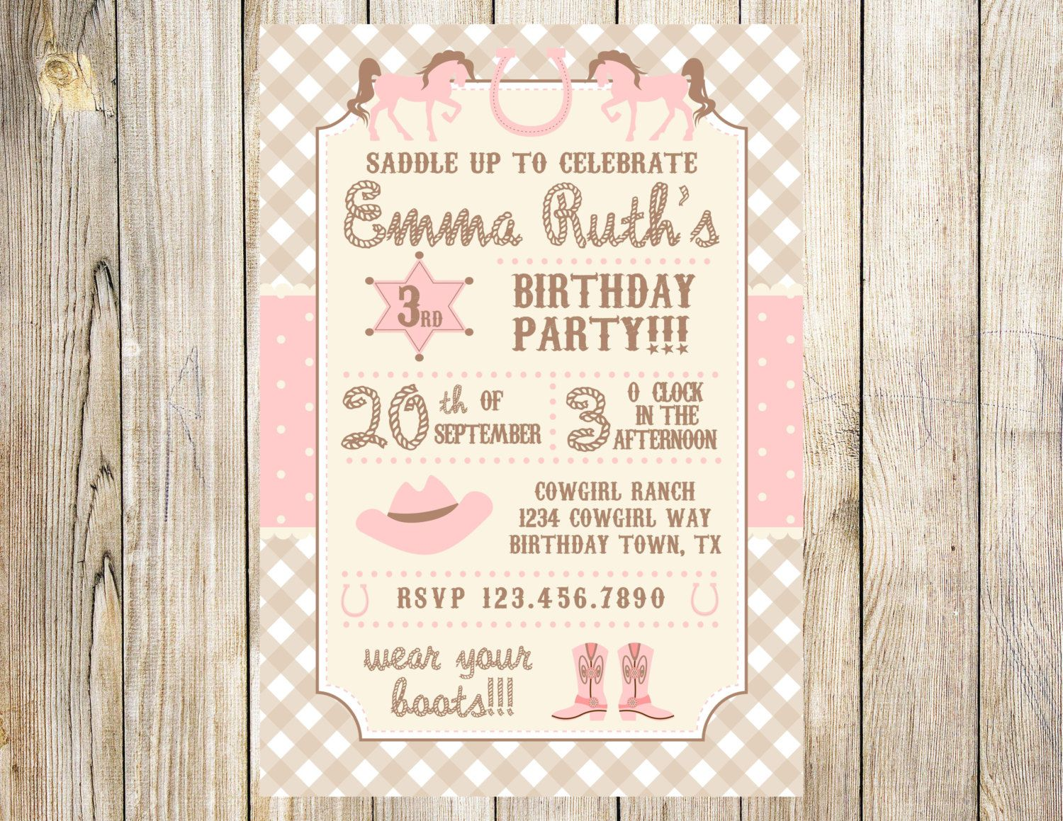 Cowgirl Birthday Invitation by EmmyJosParties on Etsy https://www ...