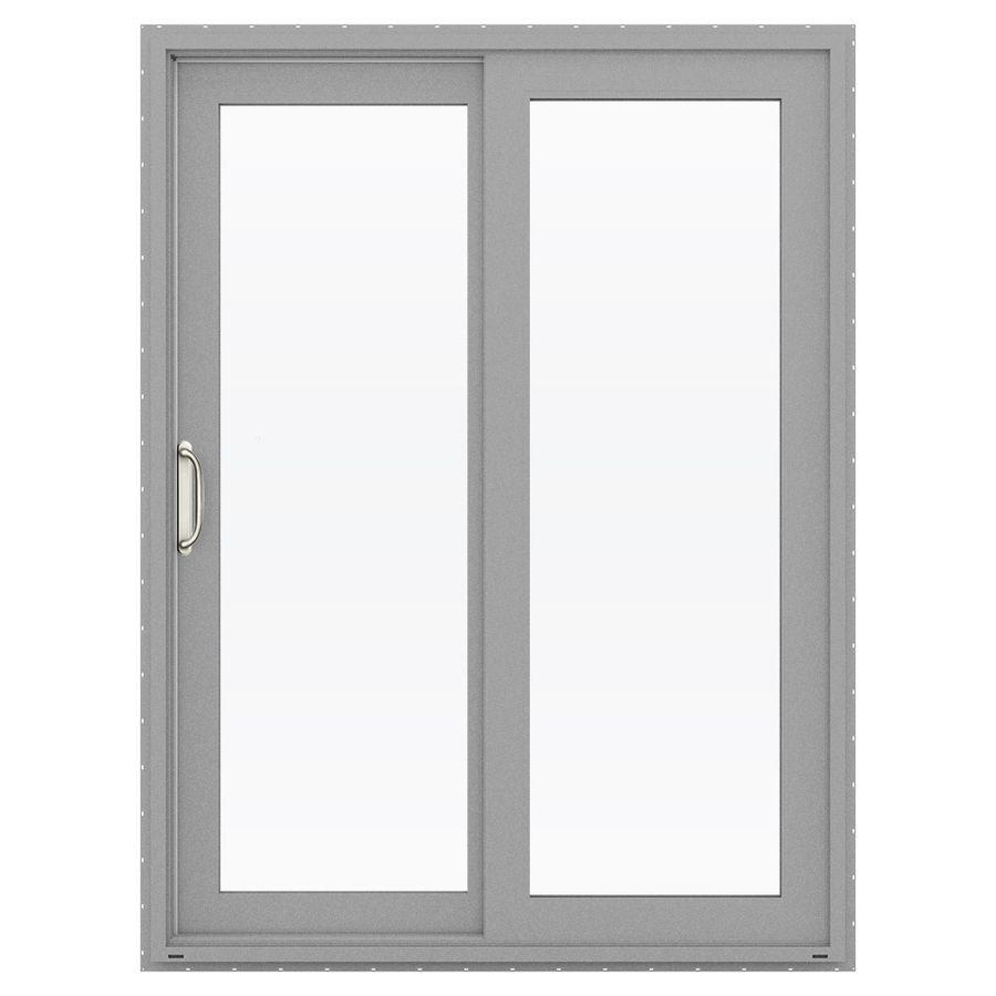 Jeld Wen V 4500 59.5 In 1 Lite Glass Arctic Silver Vinyl Sliding Patio Door  With Screen Lowoljw155900065