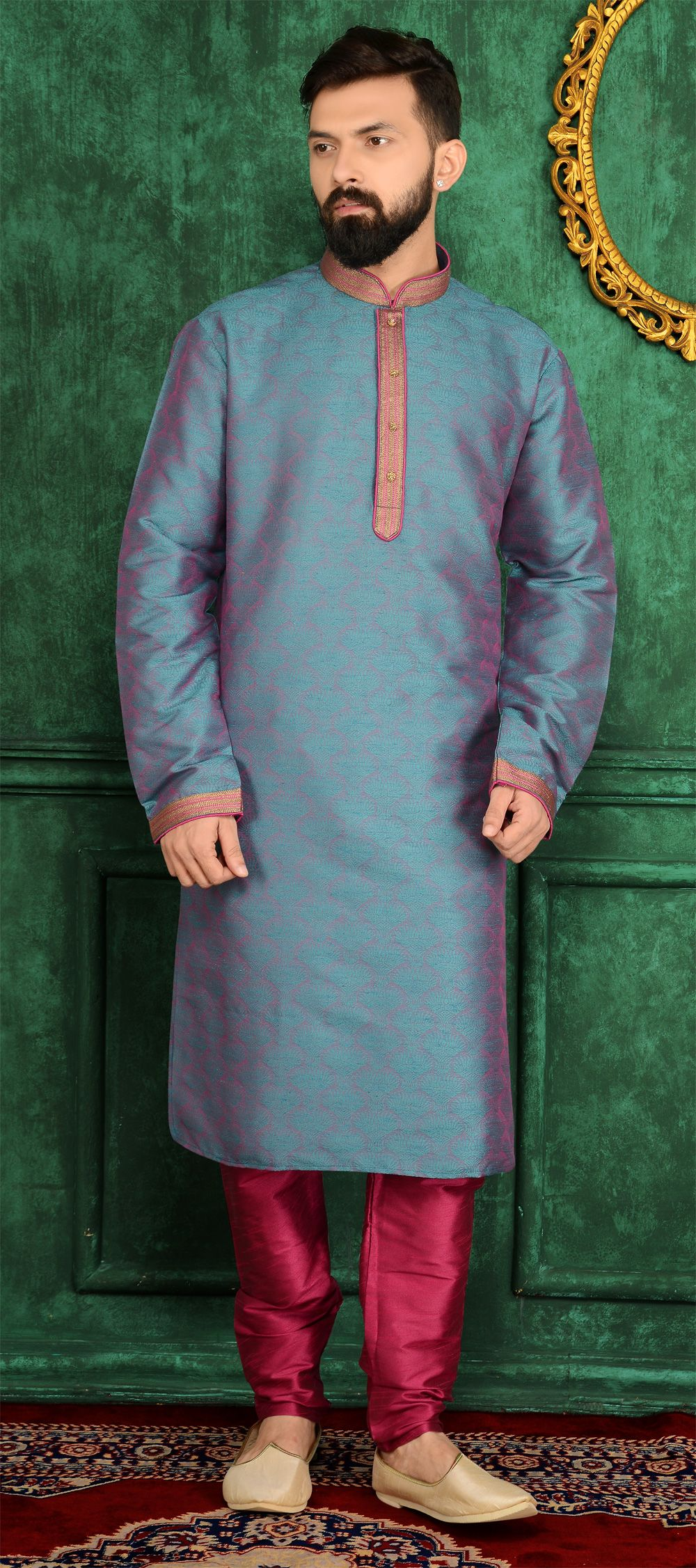 Blue, Dark Pink Jaquard Silk Brocade Kurta