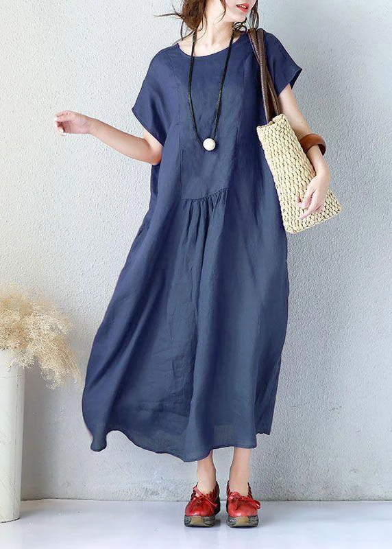 Simple linen clothes For Women Fitted Summer Women Elegant Loose Short Sleeve Navy Blue Dress #navyblueshortdress
