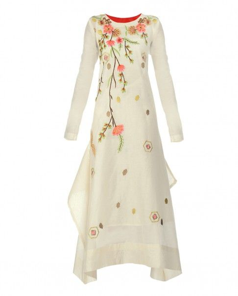 Off White Dress with Floral Embroidery