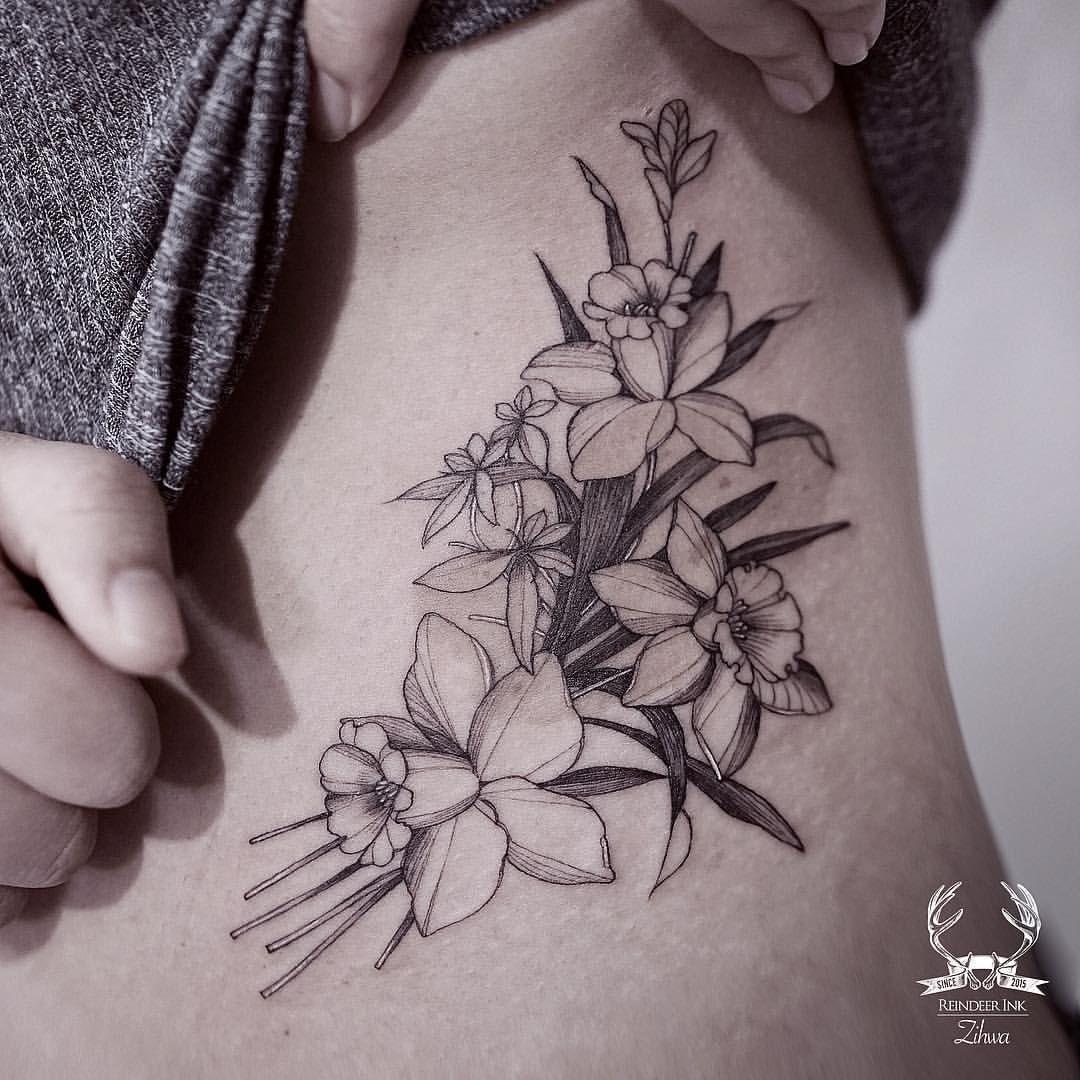Daffodil Tattoo: Daffodil Black And White Floral Tattoo On The Torso