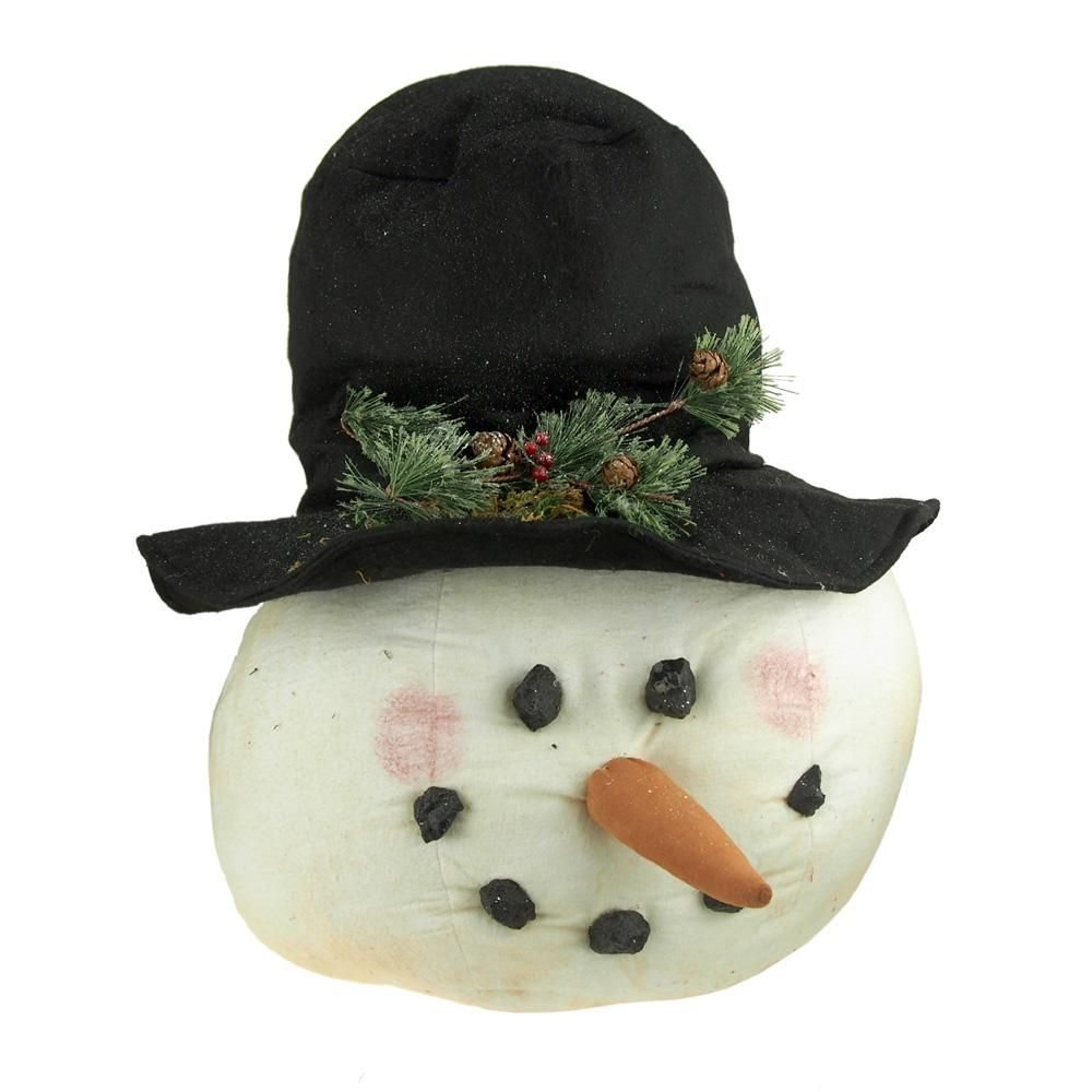 Plush Blushing Snowman Head with Top Hat Mistletoe Holiday Decor, White, 20-Inch