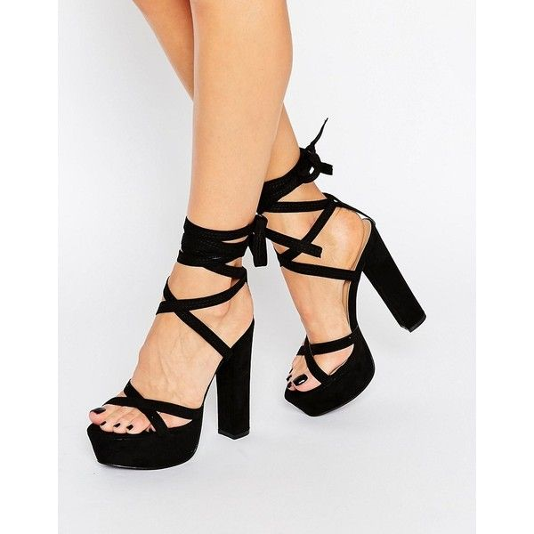 Truffle Tie Up Block Heel Sandal 700 Ars Liked On Polyvore Featuring Shoes Sandals Black Block Heels Black Block Heel Sandals Ankle Strap Sandals Heels