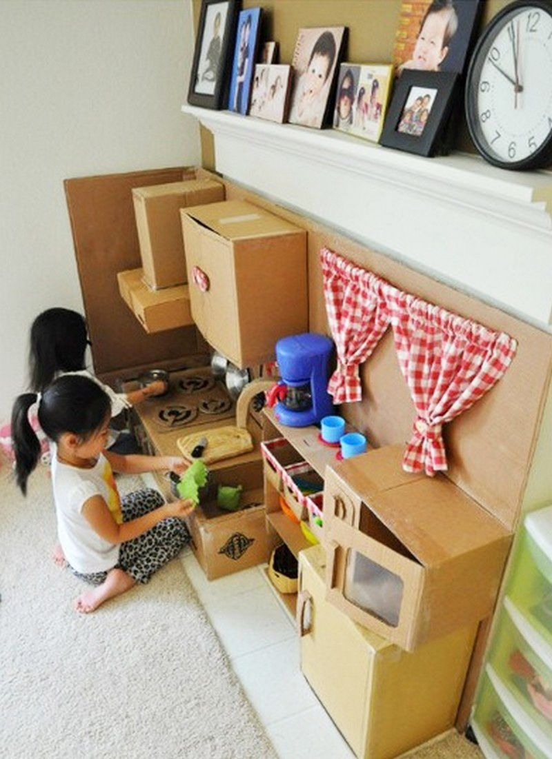 Homemade Play Kitchen Kinderka 1 4 Che Aus Karton Kinder Pinterest Van
