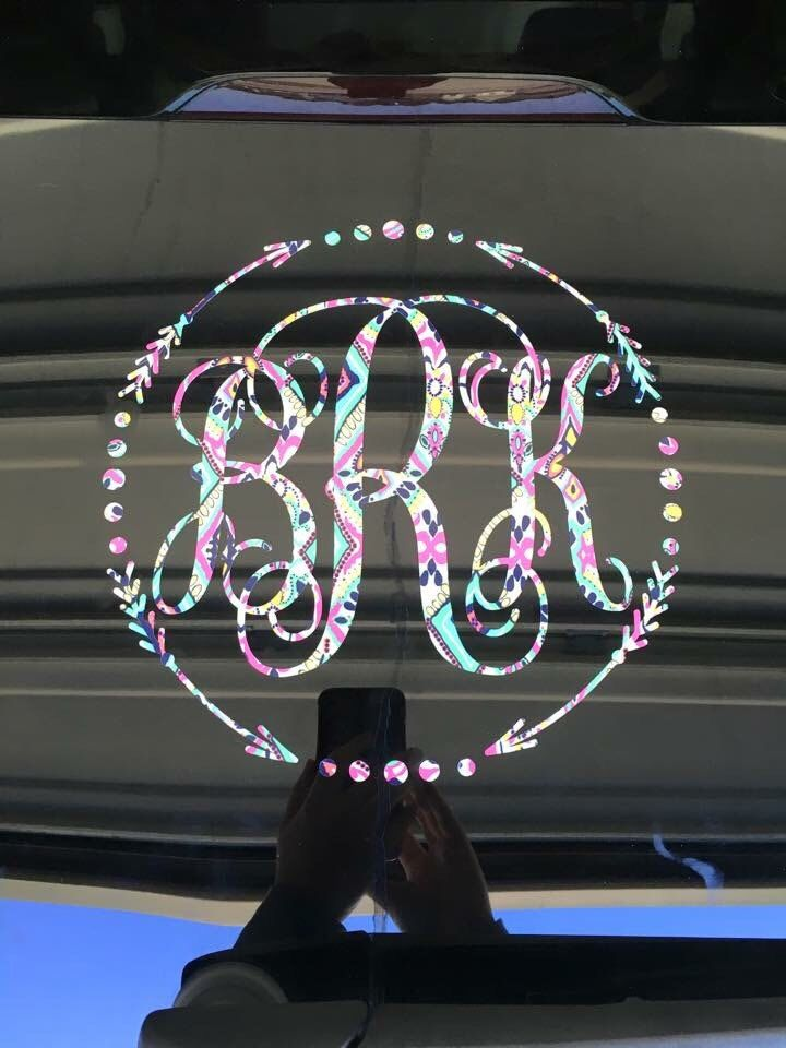 Inspired car decal lilly monogram car monogram window decal by propergifts on etsy