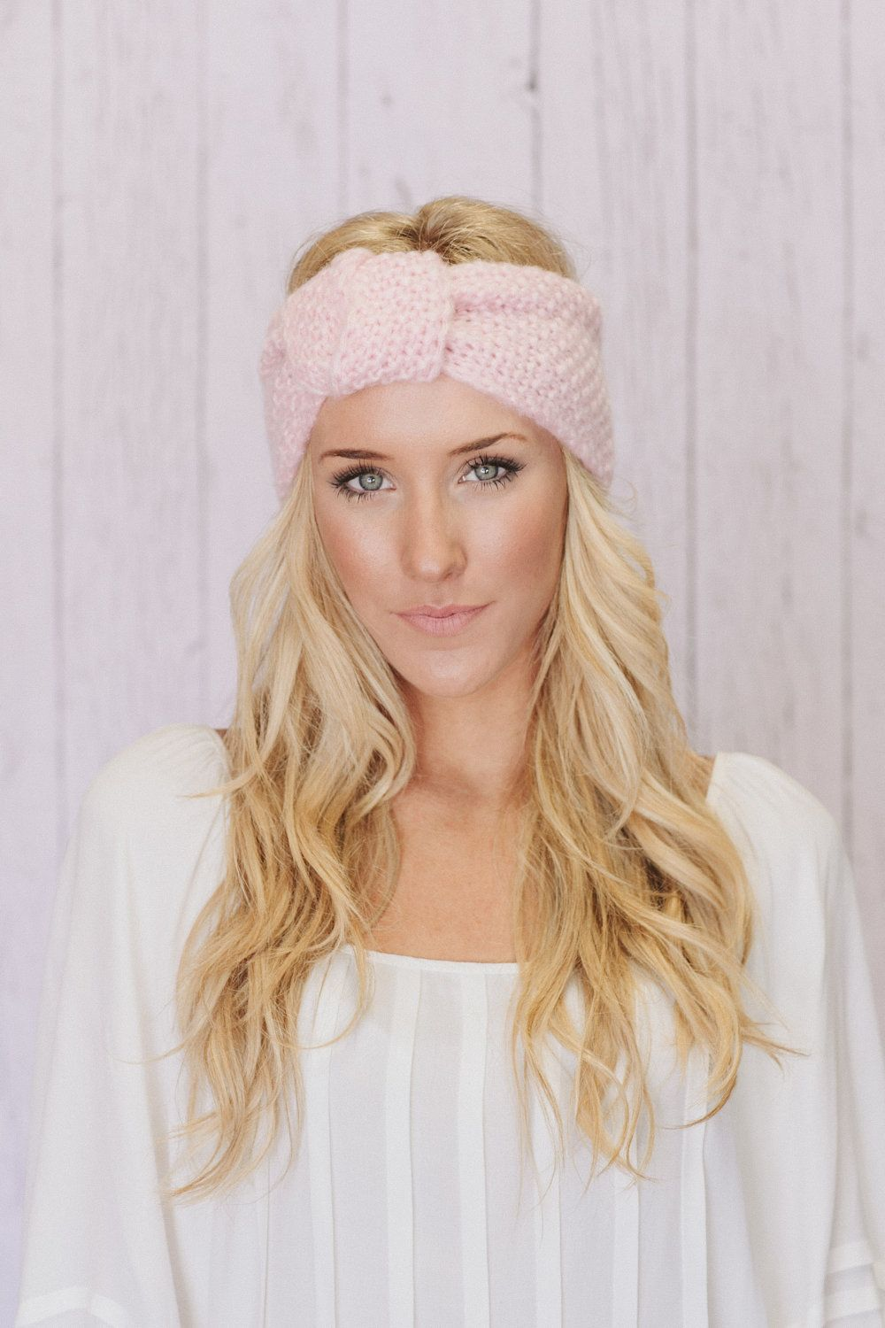 Knitted Headband Knotted Turband Ear Warmer Cotton Candy Pink (HBK1 ...