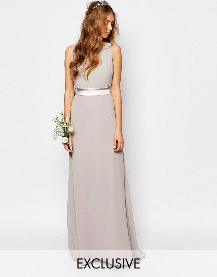 Image 1 of tfnc wedding sateen bow back maxi dress bridesmaids image 1 of tfnc wedding sateen bow back maxi dress ombrellifo Images