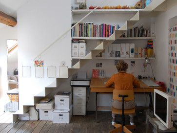 Clever Book Nook Ideas Under The Stairs This Under The Stairs Work Area Makes Use Of Every Nook And Cran Basement Home Office Under Stairs Desk Under Stairs