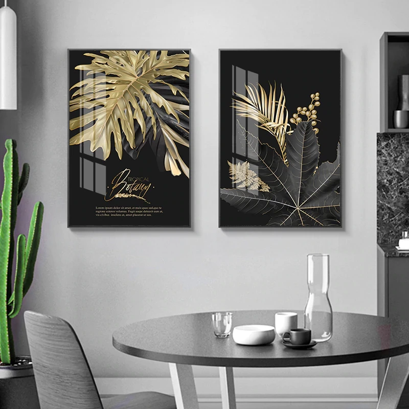 Golden Tropical Botany Luxury Nordic Wall Art Black Gold Palm Leaves Fine Art Canvas Prints Pictures For Office Living Room Bedroom Modern Home Decor Wall Art Canvas Painting Living Room