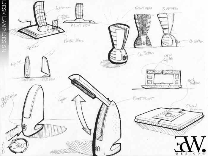 Sketches By Ed Wallace At Coroflot Com Desk Lamp Design Design Sketch Industrial Design Sketch