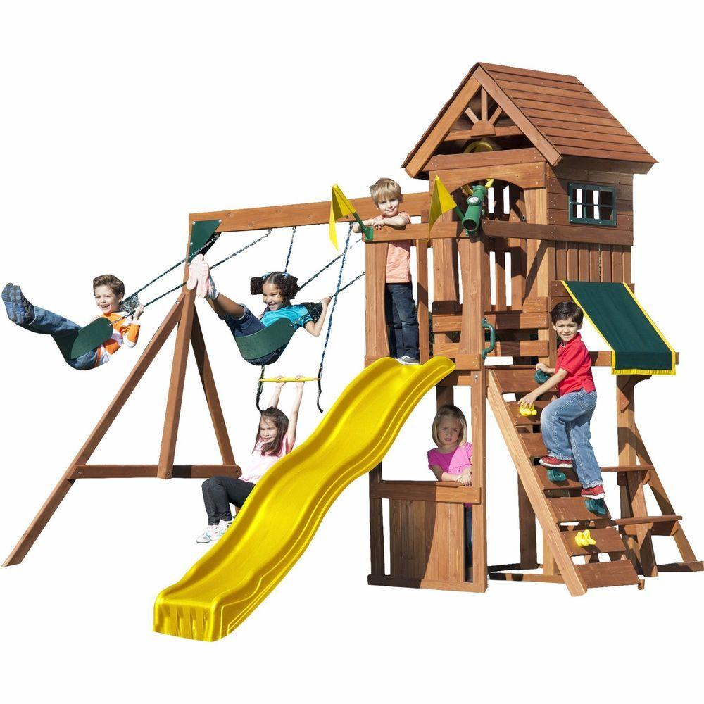 kids swing set cedar wood play house fort outdoor backyard toy
