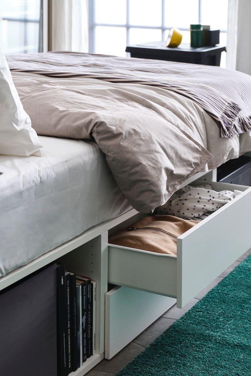 Platsa Bettgestell Mit 2 Schubladen Weiss Fonnes Ikea Deutschland In 2020 Bettgestell Ideen Fur Kleine Schlafzimmer Wohnung Schlafzimmer