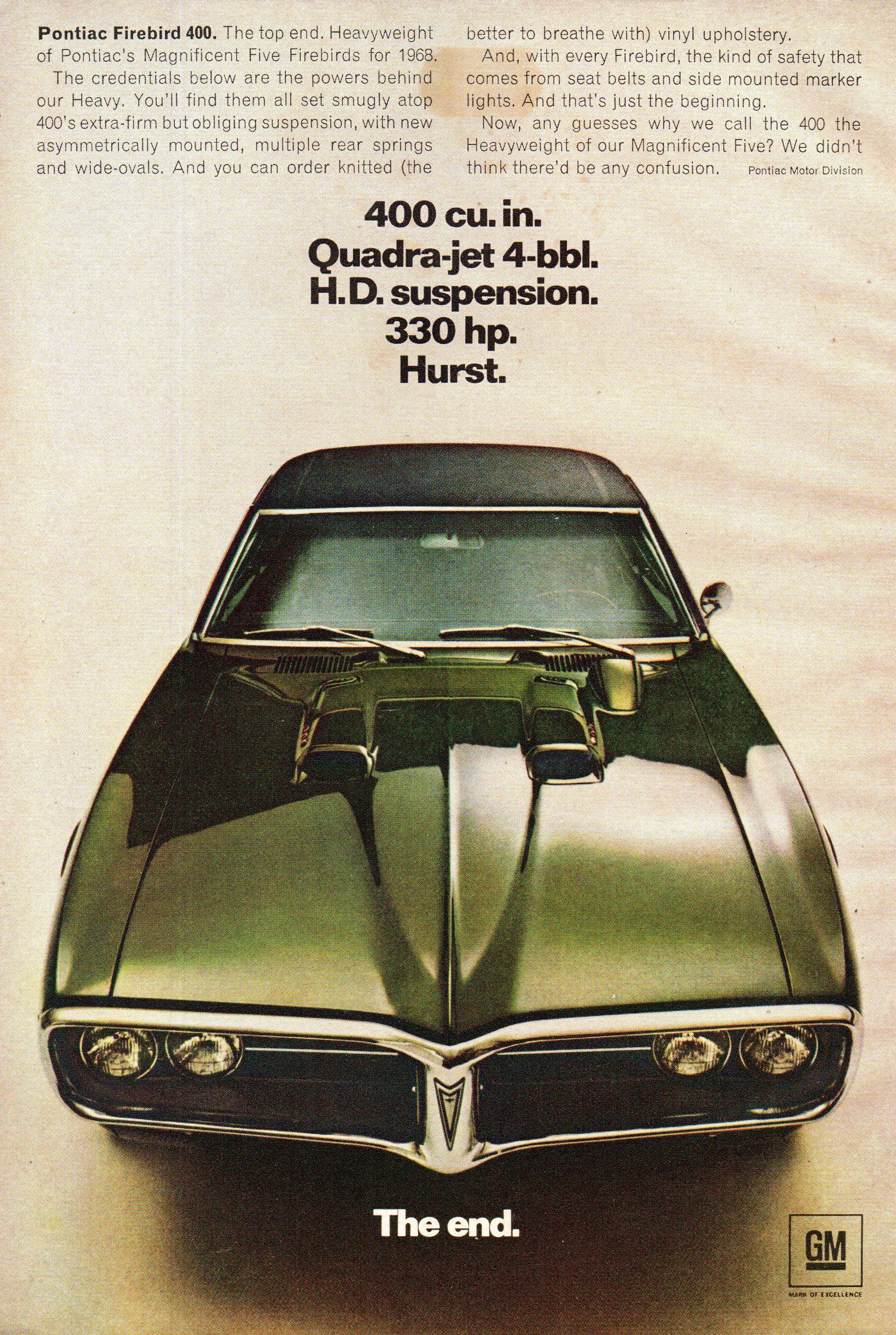 1968 Pontiac Firebird 400 Sport Coupe USA Original Magazine Advertisement