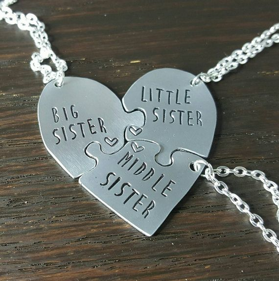 Set of THREE Heart Shaped Puzzle Piece Necklace Set for 3 Sisters ...