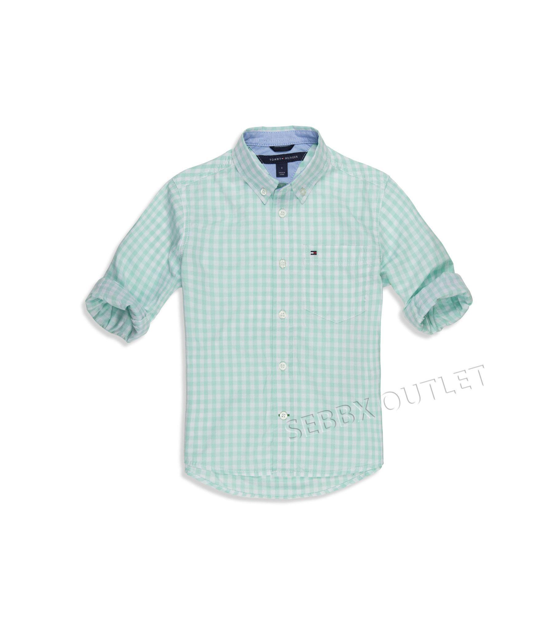 Tommy Hilfiger Shirt Button Down Mint Green Checkered Boys Shirts