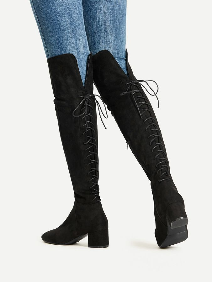 ee8e235020 Shein Lace Up Over The Knee Boots | shoes