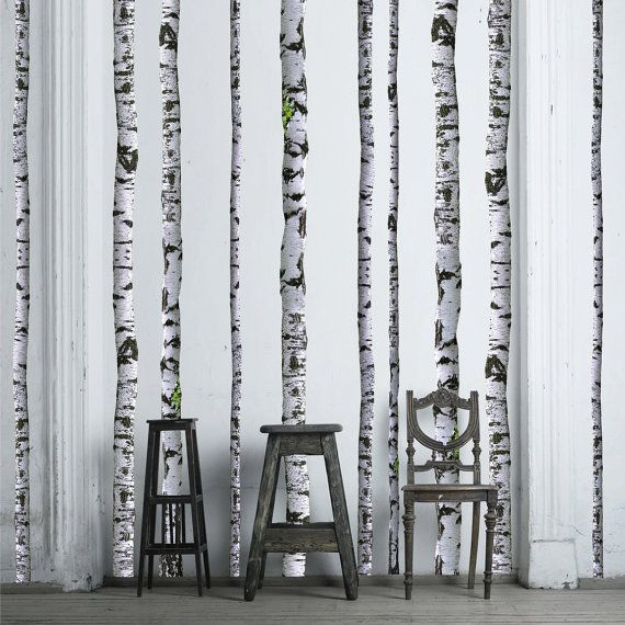 Birch Tree Wall Decals - 9 ft tall (Quantity of 5)   Abedul ...