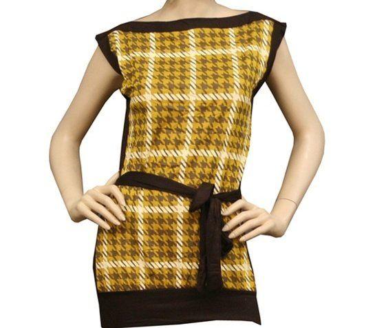 Tres+Bien+Vintage+Look+Houndstooth+Tab+Sleeve+Belted+Top+Shirt