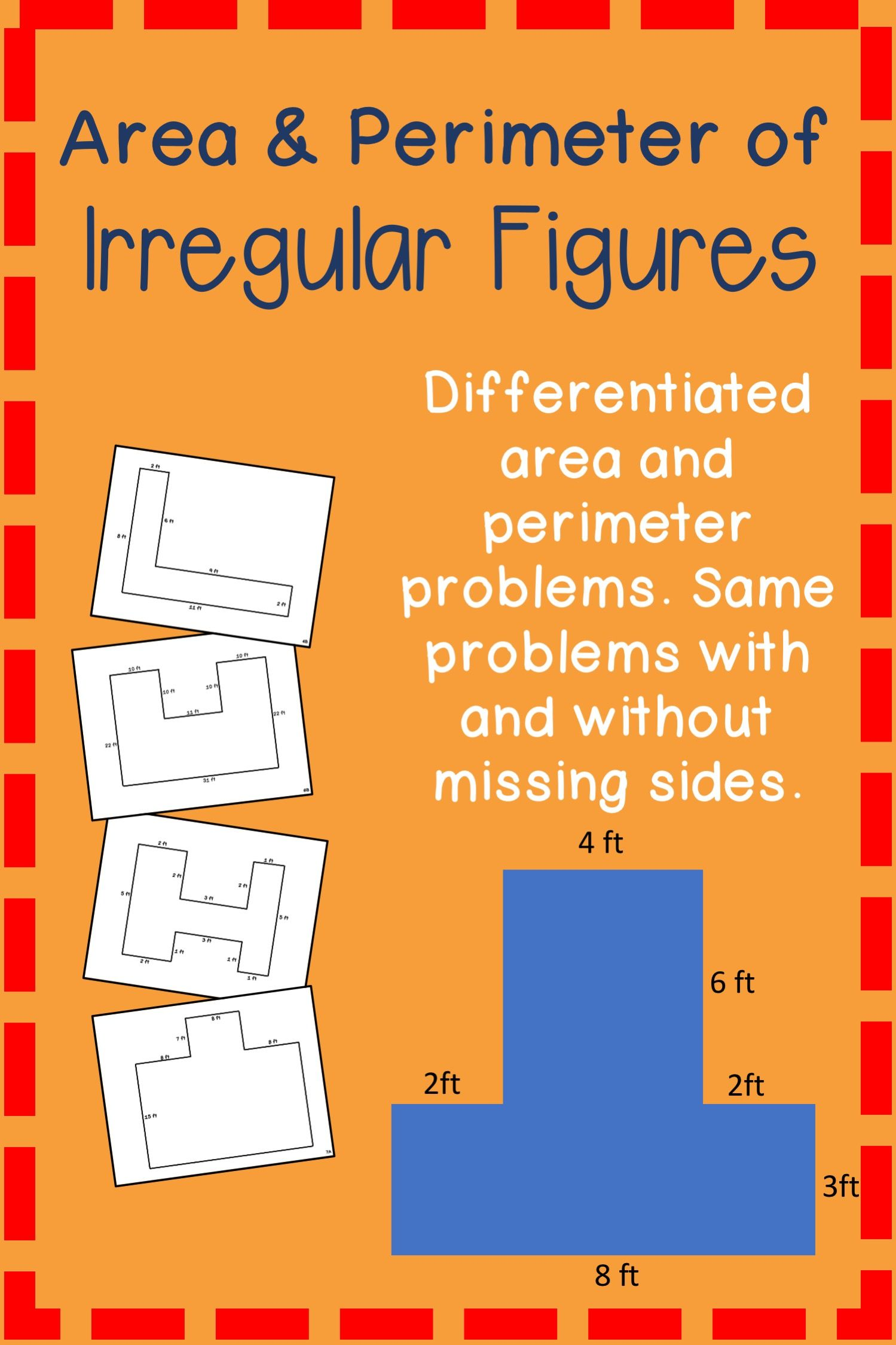 Area Amp Perimeter Of Irregular Figures Worksheets With And